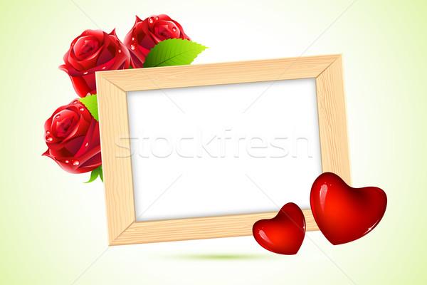 Foto stock: Photo · frame · ilustração · coração · rosa · flor