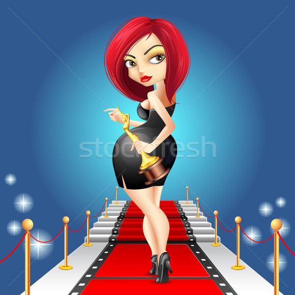 Lady on Red Carpet with Award Stock photo © vectomart