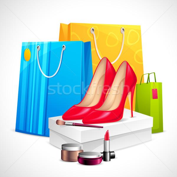 Sprzedaży produktu ilustracja buty kosmetyki torbę na zakupy Zdjęcia stock © vectomart