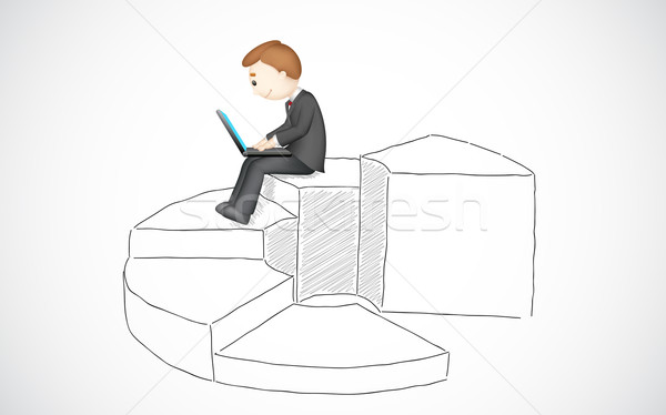 Business Man working with Laptop Stock photo © vectomart