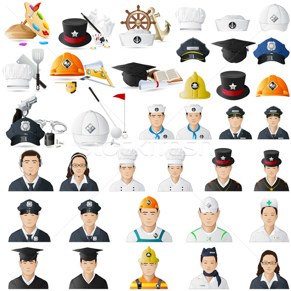 Icon set for different professions jumbo collection Stock photo © vectomart