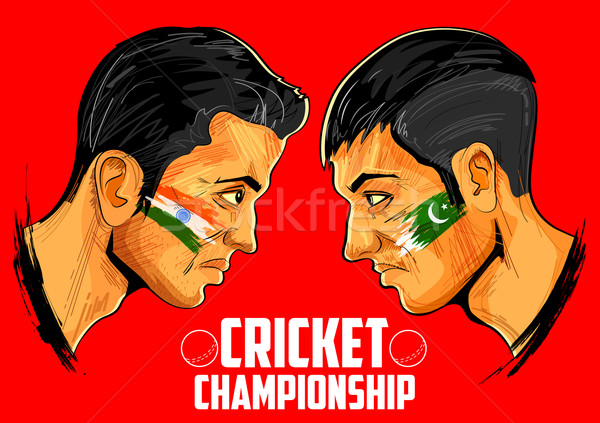 Krikett játékosok bajnokság illusztráció különböző országok Stock fotó © vectomart