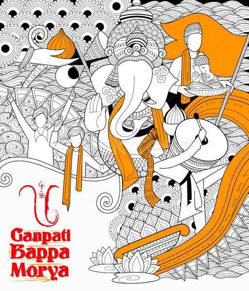 Illustrazione testo culto elefante indian Foto d'archivio © vectomart