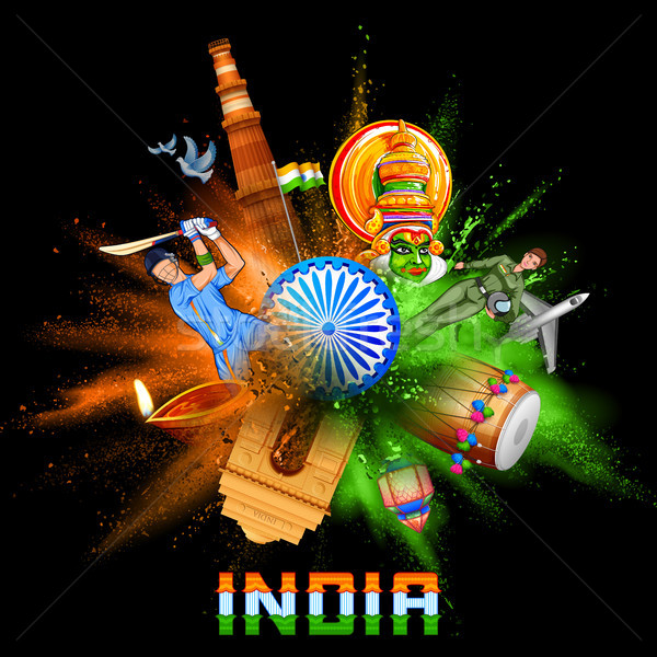 India background in tricolor and Ashoka Chakra with powder color explosion Stock photo © vectomart
