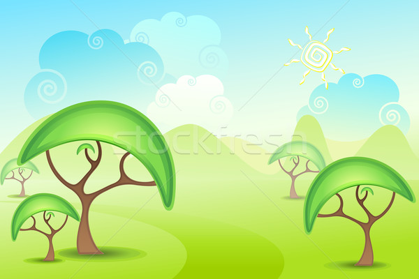 Tree on Grassland Stock photo © vectomart