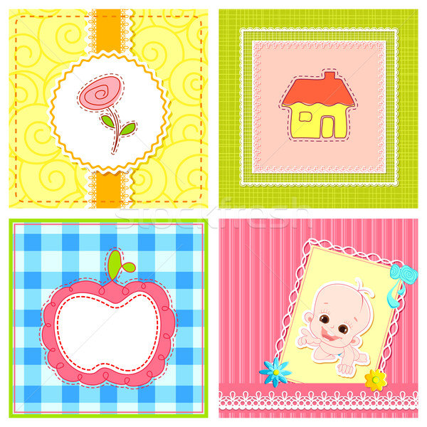 Baby przylot karty ilustracja zestaw kopia przestrzeń Zdjęcia stock © vectomart