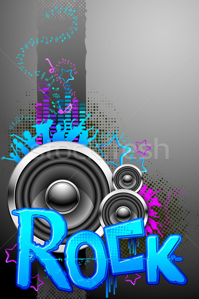 Rockzene illusztráció musical éljenez tömeg szöveg Stock fotó © vectomart