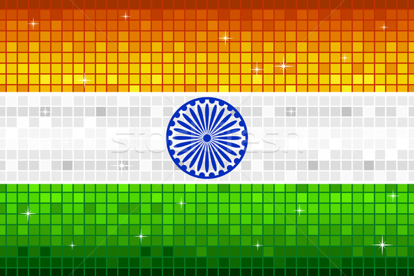 Disco indian vlag illustratie vierkante patroon Stockfoto © vectomart