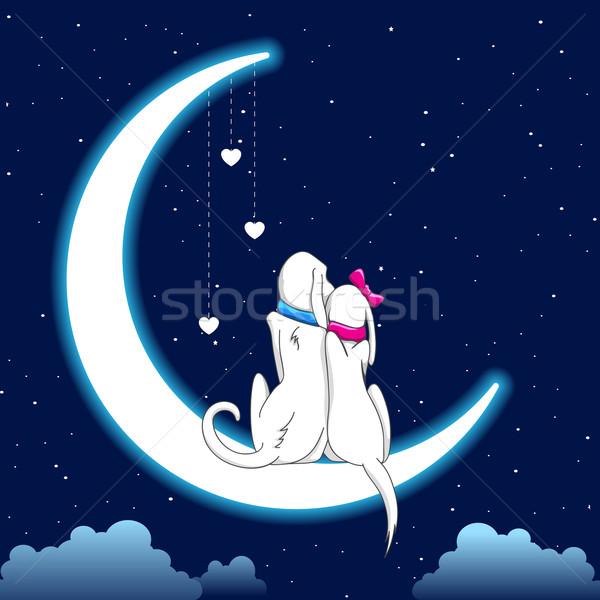 Dog Couple Sitting on Moon Stock photo © vectomart