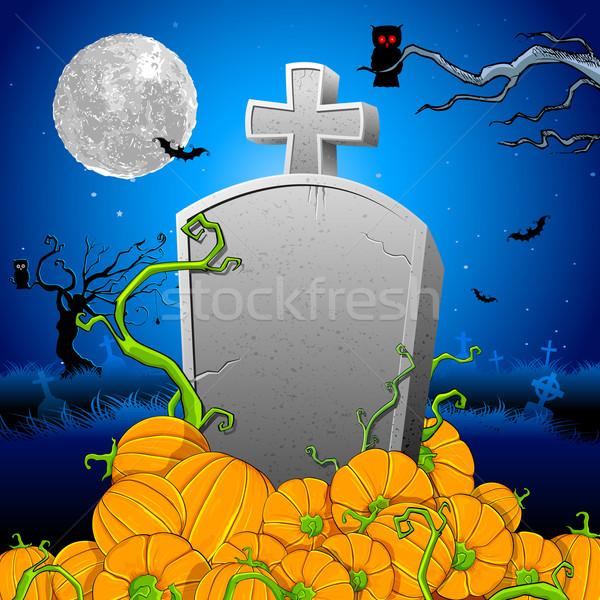 Pumpkin around Tomb Stone Stock photo © vectomart