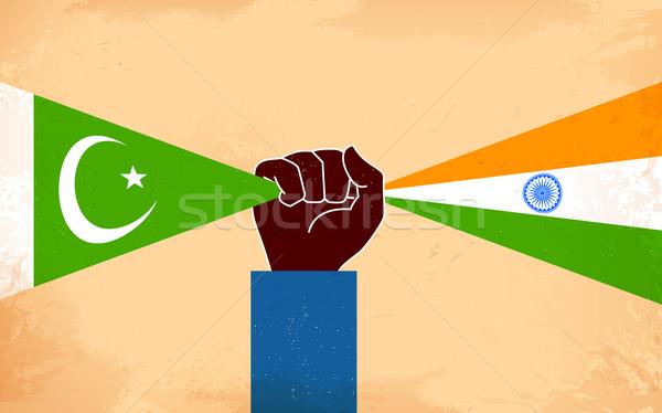 Hindistan Pakistan birlik örnek el bayrak Stok fotoğraf © vectomart