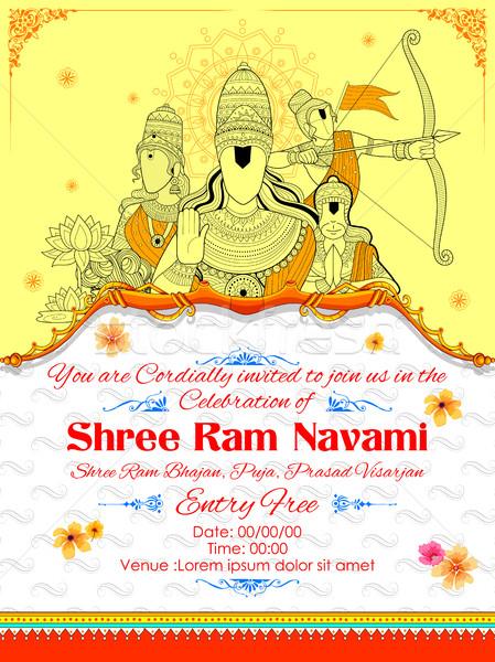 Lord Ram, Sita, Laxmana, Hanuman and Ravana in Ram Navami Stock photo © vectomart