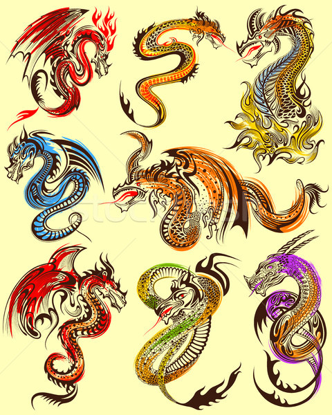 Tatouage art design furieux dragon ensemble Photo stock © vectomart