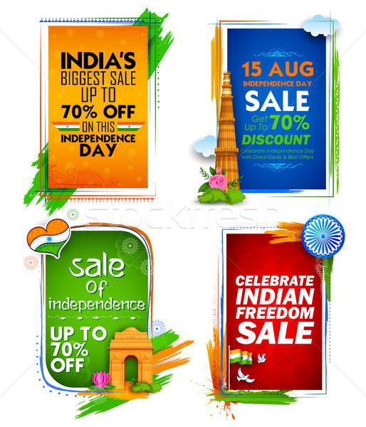 Dzień sprzedaży banner indian banderą tricolor Zdjęcia stock © vectomart