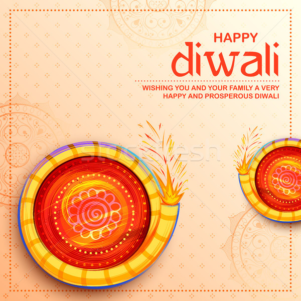 Colorful firecracker on Happy Diwali Holiday background for light festival of India Stock photo © vectomart