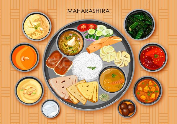 Geleneksel mutfak gıda yemek Hindistan örnek Stok fotoğraf © vectomart