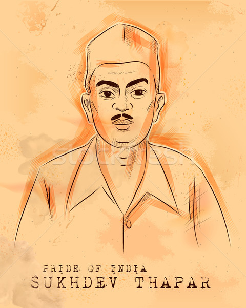 Vintage Indian background with Nation Hero and Freedom Fighter Sukhdev Thapar Pride of India Stock photo © vectomart