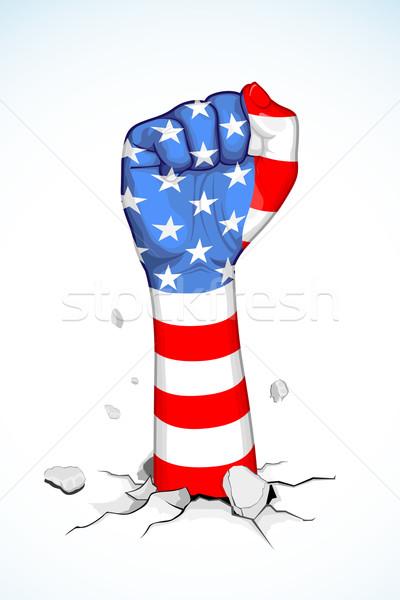 Amerikai egység illusztráció amerikai zászló nyomtatott ököl Stock fotó © vectomart