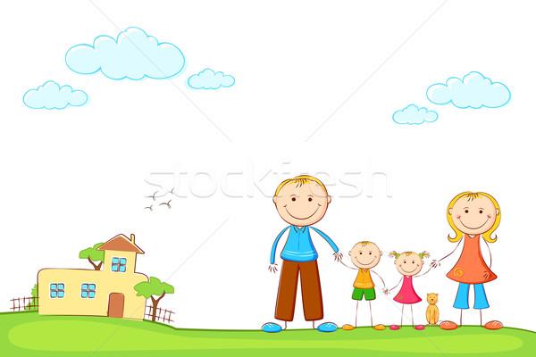 Famiglia dolce home illustrazione famiglia felice Foto d'archivio © vectomart