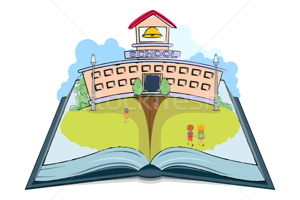 Сток-фото: школы · книга · иллюстрация · дети · открытой · книгой · ноутбук