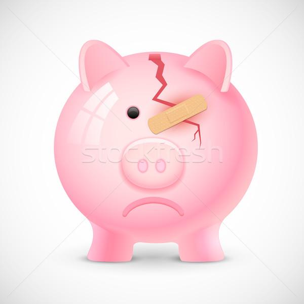 Finansal kriz örnek kırık kumbara bandaj depresyon Stok fotoğraf © vectomart
