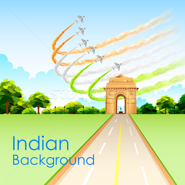 Airplane making Indian tricolor flag around India Gate Stock photo © vectomart