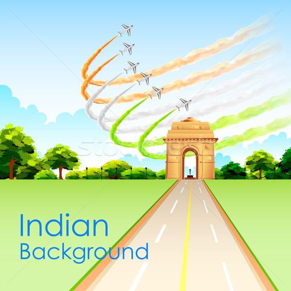 Samolot indian tricolor banderą około Zdjęcia stock © vectomart