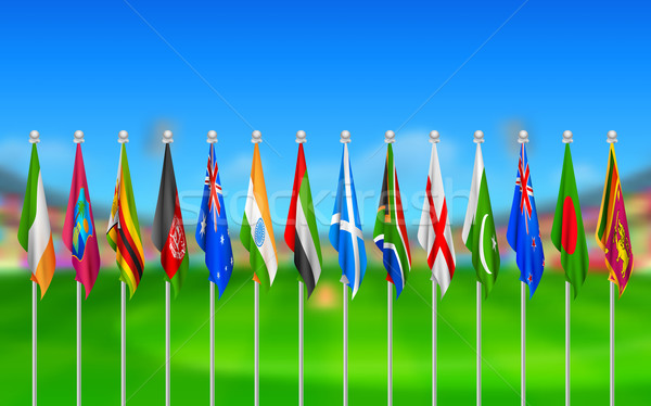 Flags of participating countries of cricket 2015 Stock photo © vectomart