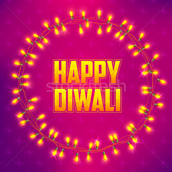 Stock photo: Happy Diwali background decorated with light