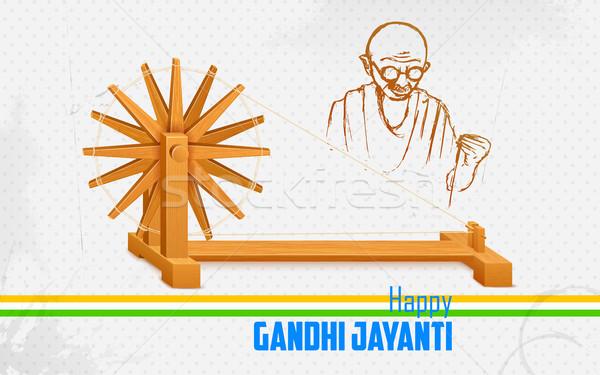 Spinning wheel on India background for Gandhi Jayanti Stock photo © vectomart