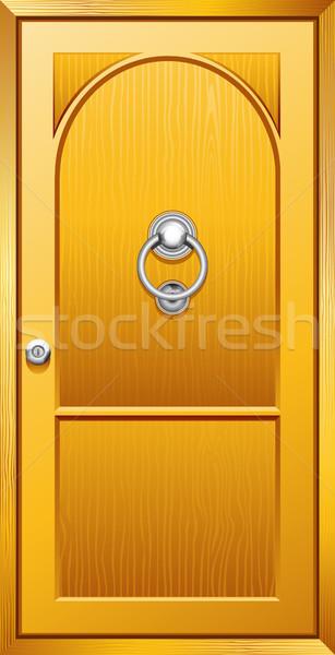 木製 ドア 実例 金属 建物 ストックフォト © vectomart