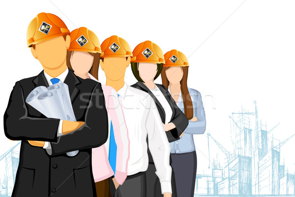 Team Architekt Illustration tragen Baustelle Stock foto © vectomart