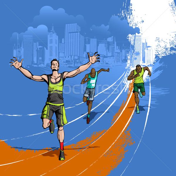Athlete running on Track Stock photo © vectomart
