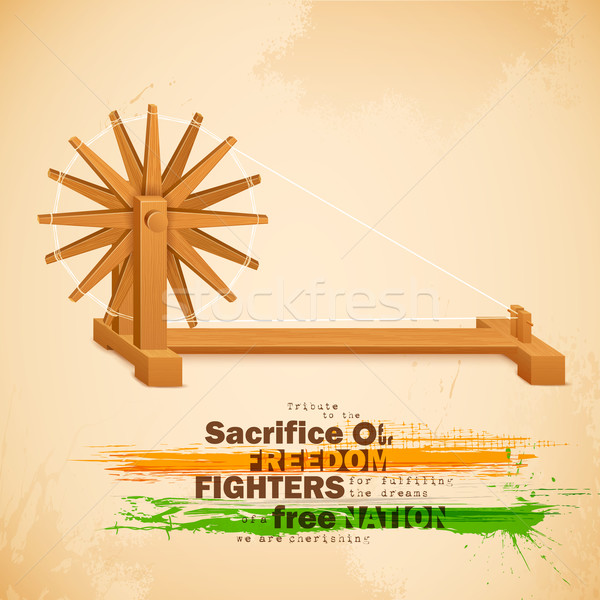 Wiel Indië illustratie oranje reizen vlag Stockfoto © vectomart