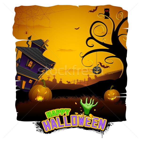 Haunted House in Halloween Night Stock photo © vectomart
