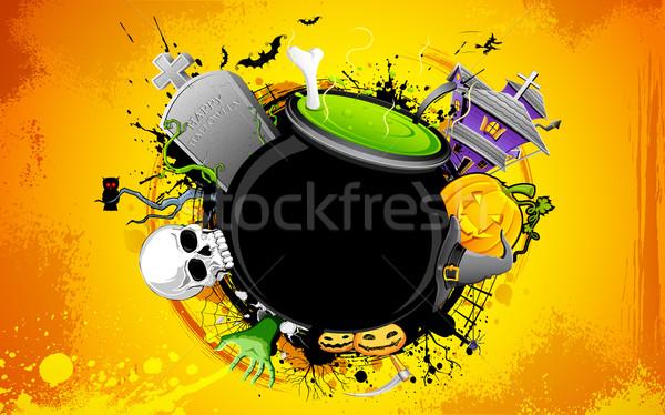 Halloween üst koponya éjszaka terv ünnep Stock fotó © vectomart