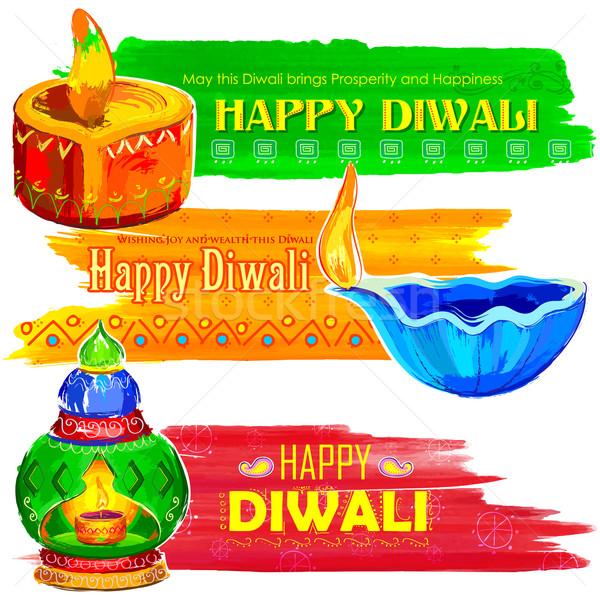 Happy Diwali banner coloful watercolor diya Stock photo © vectomart