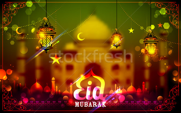 Eid Mubarak greeting with illuminated lamp Stock photo © vectomart
