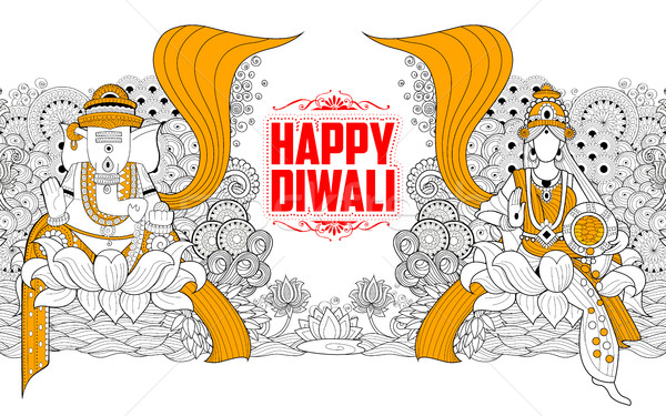 Goddess Lakshmi and Lord Ganesha on Happy Diwali Holiday doodle background for light festival of Ind Stock photo © vectomart