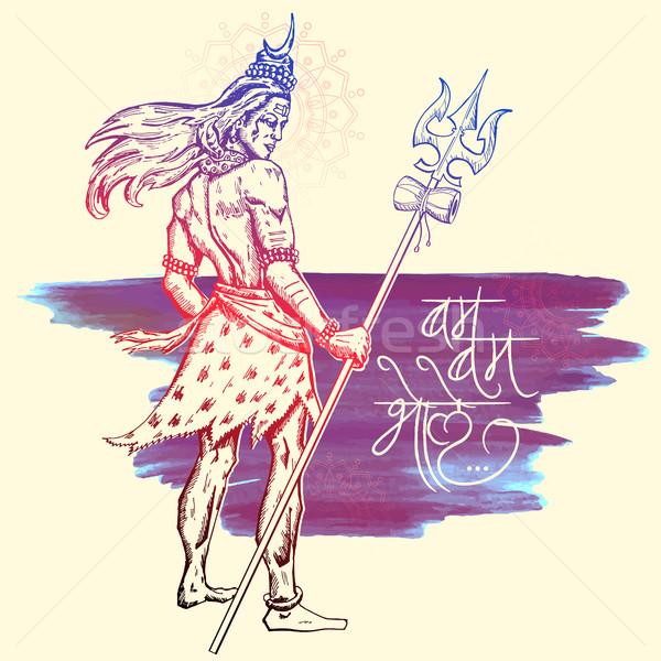 Shiva indiano deus ilustração mensagem estrondo Foto stock © vectomart