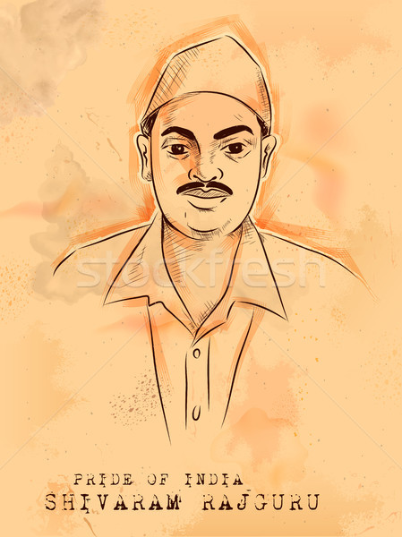 Vintage Indian background with Nation Hero and Freedom Fighter Shivaram Rajguru Pride of India Stock photo © vectomart