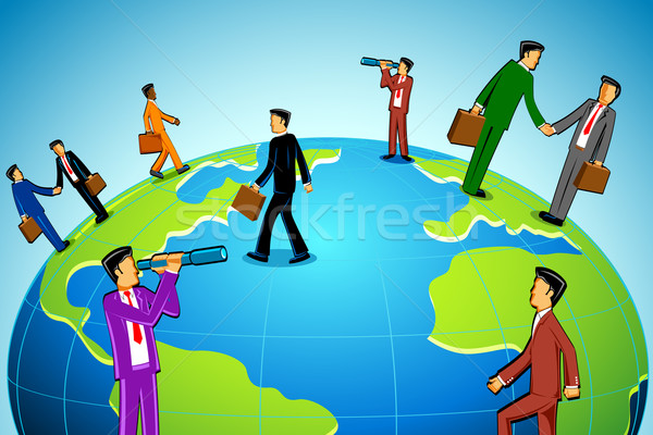 Zakenman rond wereld illustratie mensen business Stockfoto © vectomart