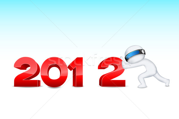 3d man pushing 2012 Stock photo © vectomart