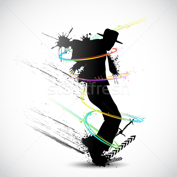 Koszos táncos illusztráció grunge színes örvény Stock fotó © vectomart