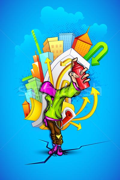 Fresco tipo urbanas graffiti ilustración Foto stock © vectomart