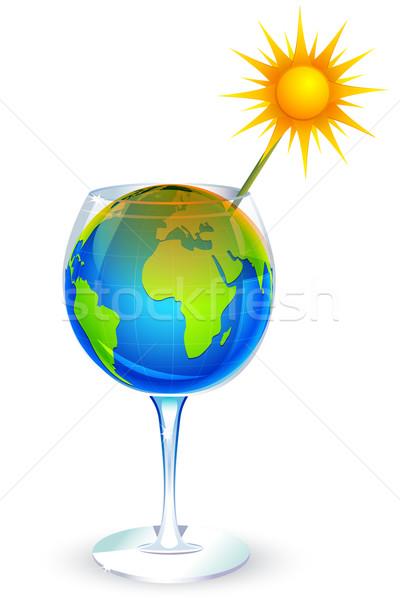 Globális felmelegedés illusztráció földgömb üveg nap szalmaszál Stock fotó © vectomart