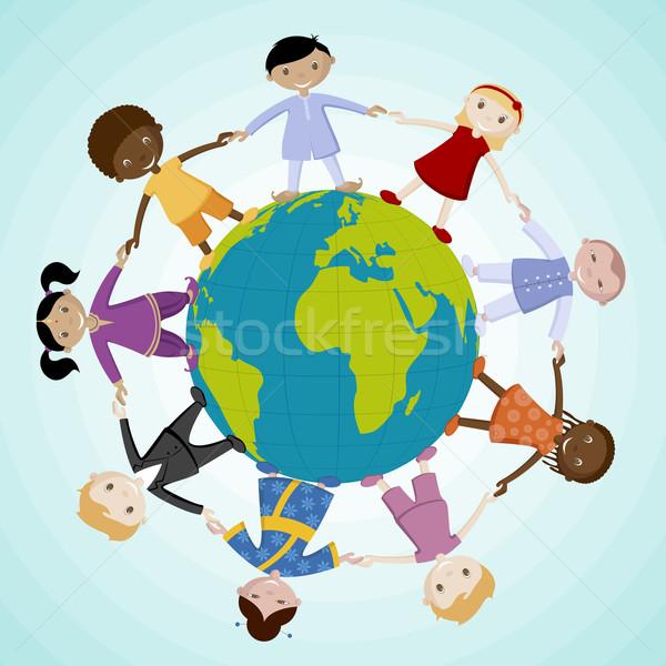 Kids around the Globe Stock photo © vectomart