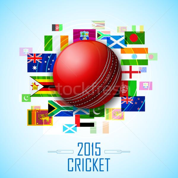 Cricket balle différent pays pavillon illustration Photo stock © vectomart