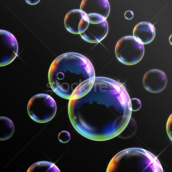 Realistisch transparant zeepbellen illustratie abstract ontwerp Stockfoto © vectomart