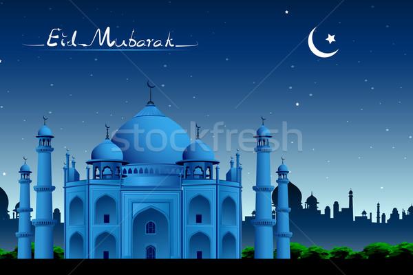 Photo stock: Taj · Mahal · illustration · nuit · vue · lumière · design
